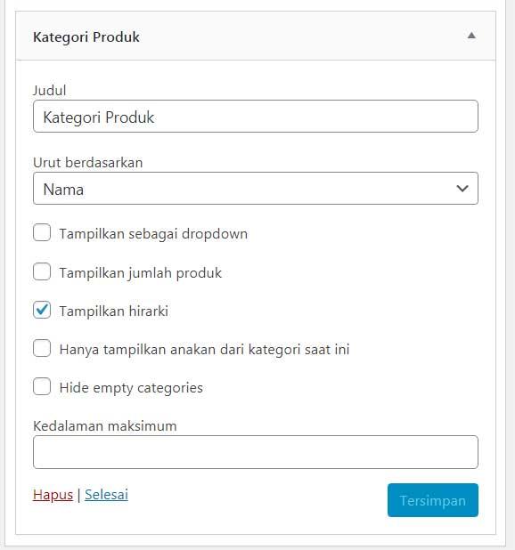 Exclude Woocommerce Categories Pada Widget